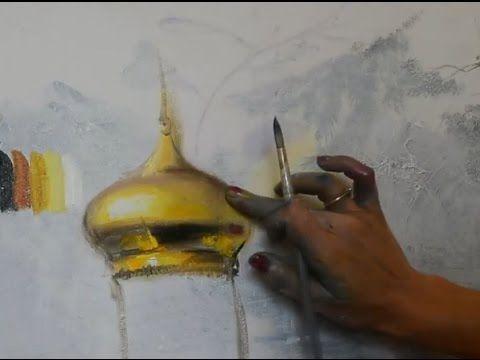 Художник Ольга Базанова показывает своим ученикам как написать золото и какие масляные краски для этого использовать.
