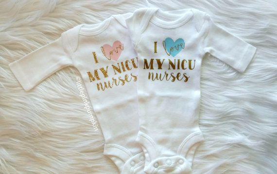 Preemie Clothes, Blue or Pink I Love My NICU Nurses Bodysuit, NICU Baby Bodysuit, Preemie Strong Bodysuit, Glitter Baby Clothes