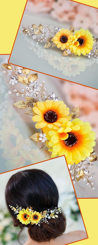 Sunflower flower crown Sunflower headpiece Yellow flower crown Sunflower wedding Fall floral crown Fall wedding Yellow bridal headpiece #affiliate #ad #fallwedding #weddinghairstyle
