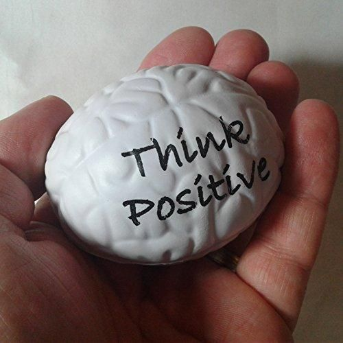 """Stress Relief Toys Stress Ball by Feel Good Goods """"Think Positive"""" Squeezing Stress Relief Ball- White Brain Stress Ball for Hand Therapy Stress Relief Positive Affirmation Therapeutic and Educational"""