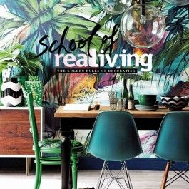 Our Tropical Colours Mural from our Expressions Collection on the cover of  Real Living Magazine's Golden Rules Of Decorating Book! #tropical #jungle #wallpaper #green