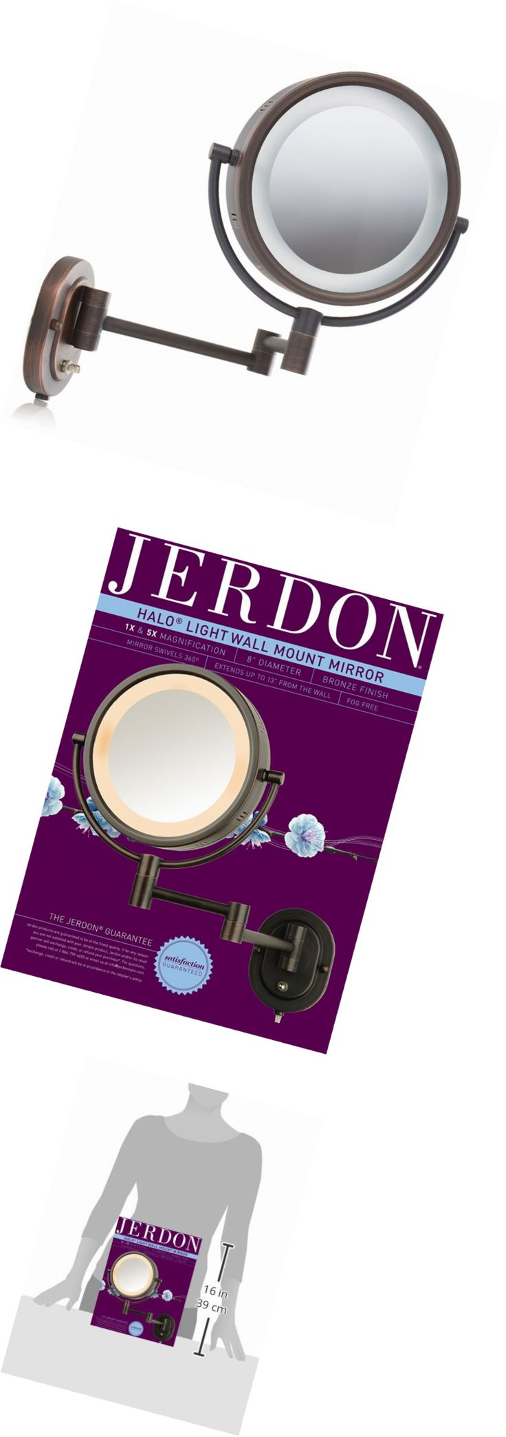 Makeup Mirrors: Jerdon Hl65bz 8-Inch Lighted Wall Mount Makeup Mirror With 5X Magnification, Bro -> BUY IT NOW ONLY: $55.05 on eBay!