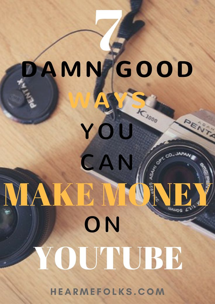 Wondering, how to earn money from youtube videos, then check out these 7 damn good ways to make money on youtube while staying at home. http://hearmefolks.com/2016/09/earn-money-from-youtube/