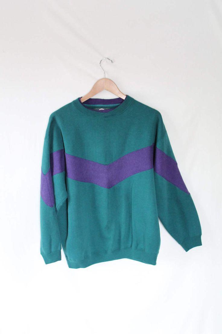 90s TIMBERLAND Long Sleeve Polo Sweatshirt // Turquoise Purple Geometric Retro Color Block // Soft Grunge Mac Demarco Freaks and Geeks by VegaGenesisVintage on Etsy
