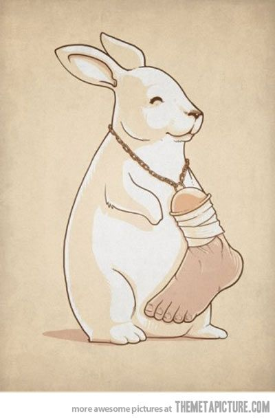 I have a lucky rabbits foot tattooed on me..I should do this next!