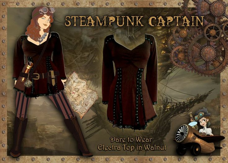 This blogpost shows how to make a Steampunk Captain Costume from a Dare Fashion Electra Top in Walnut.