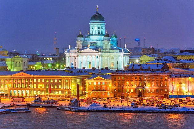 Helsinki, the capital of Finland at night.