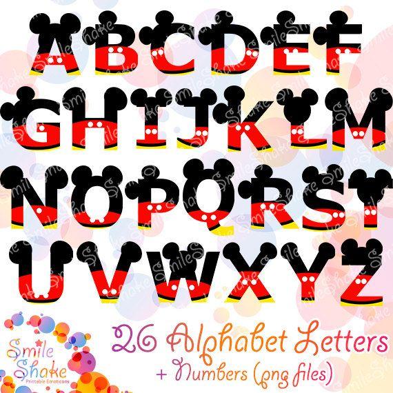 36 PNG Mickey alfabeto Letras ratón Digital Letras instantánea