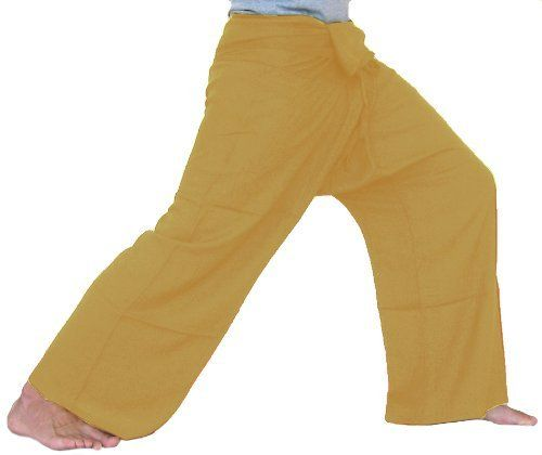 "Yellow Goldenrod Fisherman Pants Yoga Clothes Thai Summer Beach Pants Yoga Wear Cotton Thai Comfortable Pants Clothing Thai Yoga by Cotton Design. $24.99. Thai Fisherman pants for men and women!. Perfect for Yoga, Martial Arts, Maternity, Dance, the beach and more! Thai. These cool new Fisherman Pants measure about 50"" around the waist and total length is about 41"". One size fits most!. Brand new top quality authentic ""Gangaeng Chaolay"". These high quality fisher..."