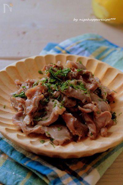 塩レモンに漬け込んだ砂肝をにんにくでシンプルに炒めました