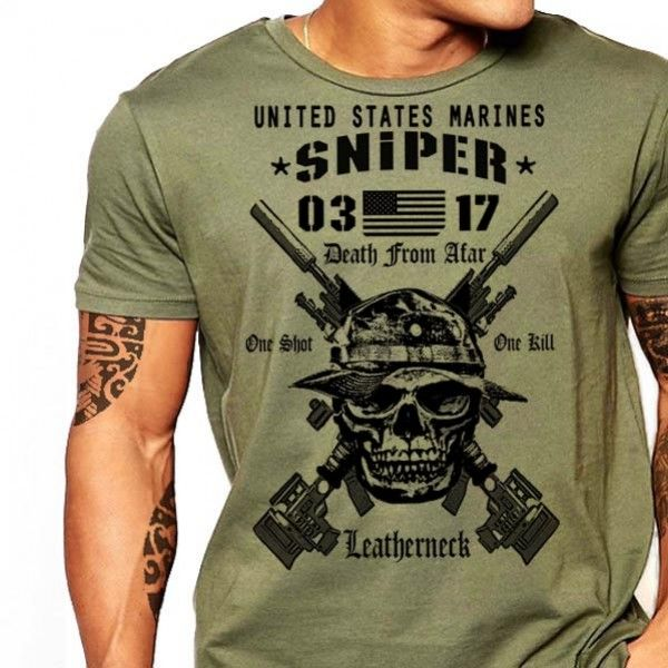 USMC Scout Sniper 0317 T-Shirt US Marines One Shot One Kill Death from Afar