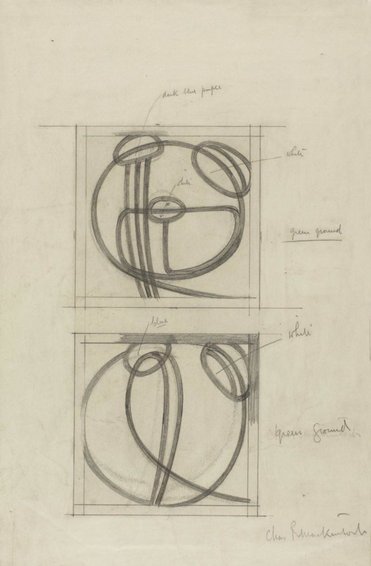 Charles Rennie Mackintosh (1868-1928) - Design Drawings for Two Leaded Glass Panels. Pencil on Paper. Designed for their Home & Studio at 120 Mains Street, Glasgow, Scotland. Circa 1900. 35.4cm x 23cm.