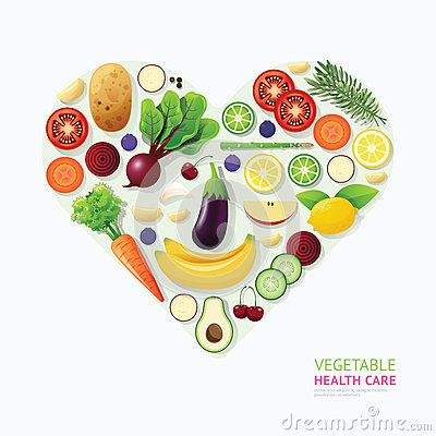 Infographic vegetable and fruit food health care heart shape Vector Illustration