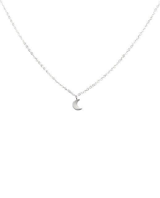 Dainty Sterling Silver Half Moon Necklace, Tiny Crescent Moon Necklace, Delicate Gift for Her, Minimalist Charm Necklace