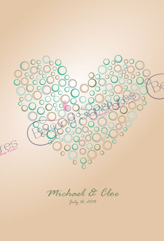Wedding Heart Signing Poster. Brown & green earthy tones.
