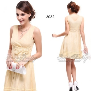 Ever-Pretty Beige Double V-Neck Party Dress