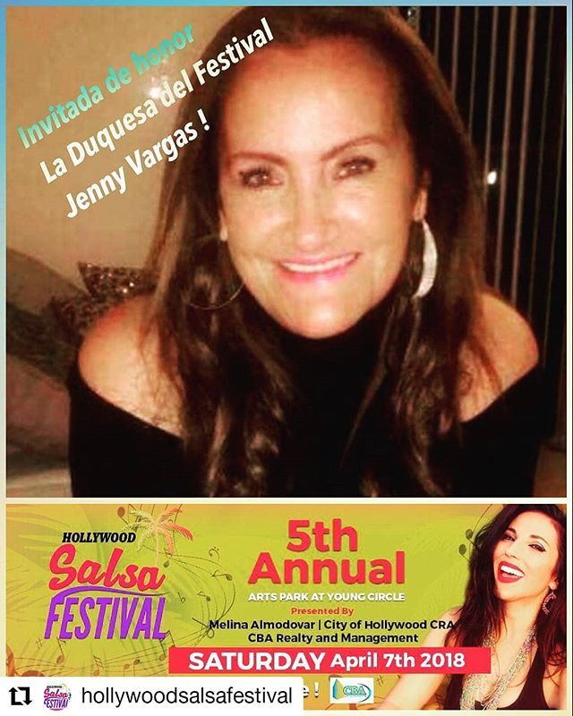 Credit to @hollywoodsalsafestival    La invitada de Honor la Duquesa de la Salsa JENNY VARGAS !  Our guest of honor the great JENNY VARGAS !  The Dutchess of salsa ! @hollywoodsalsafestival @melinalamuneca @hollywoodtapfl @gasolinadrink @jerrysantiagofm @negrofino @gasolinadrink @gasolinausa #hsf5 #hollywood #florida #salsadancing #salsafestival #free     #HollywoodTapFL #HollywoodFL #HollywoodBeach #DowntownHollywood #HardRockHolly #Miami #FortLauderdale #FtLauderdale #Dania #Davie…