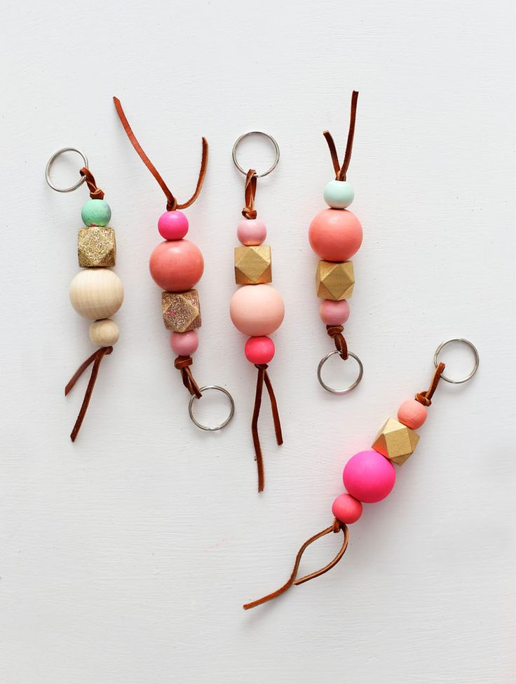 wood bead key chains and a pretty package