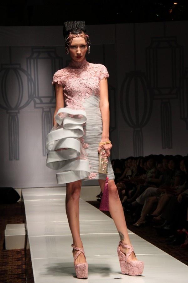 Ruffle-Detailed on Shanghai Swing Fashion Show by Sebastian Gunawan