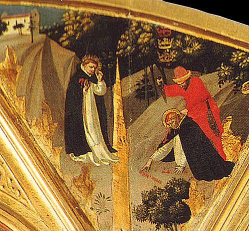 Фра Анжелико. Слева изображена проповедь Петра Мученика, справа — его смерть; обе сцены объединены линией, образованной кронами деревьев.