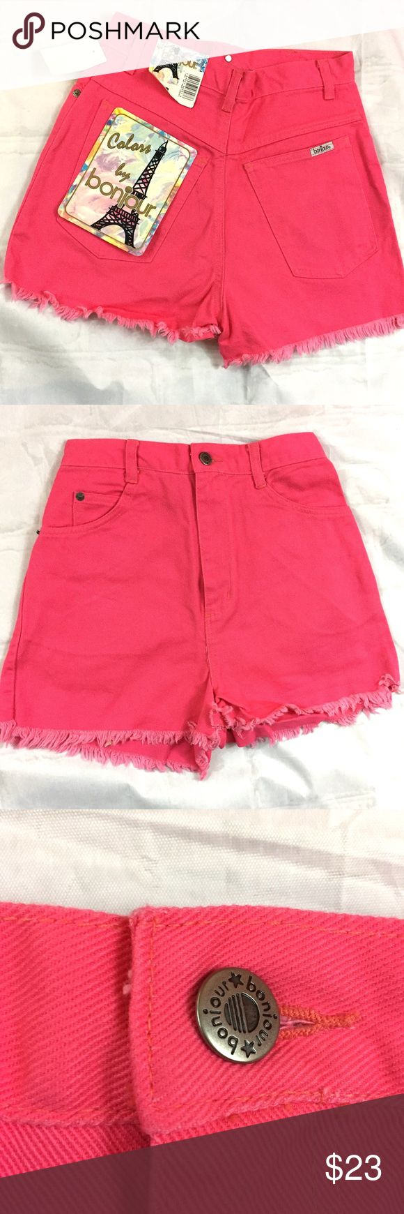 Vintage Bonjour High Waisted Jean Sorts Hot Pink Wow!  These incredibly cool hot pink shorts have the ORIGINAL TAGS attached!  These Bonjour brand shorts were purchased at Bradlees, a now-defunct New England chain store. They closed right around 2000. High waisted short-shorts are super on trend.  They've got the 90's vibe that everyone is loving right now. Bonjour Shorts Jean Shorts