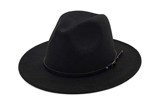 36959736ff8 WmcyWell Vintage Women s Wide Brim Floppy Panama Hat Belt Buckle Fedora Hat  Black