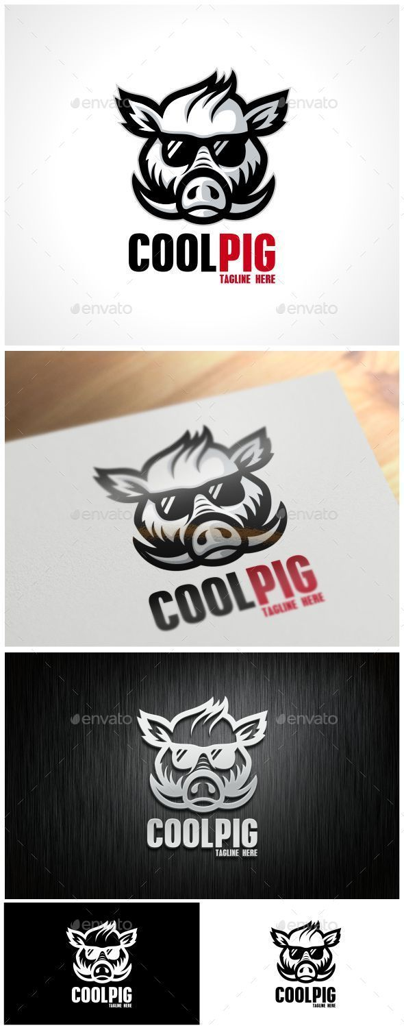Cool Pig  Logo Design Template Vector #logotype Download it here: http://graphicriver.net/item/cool-pig-logo-template/8945644?s_rank=806?ref=nexion