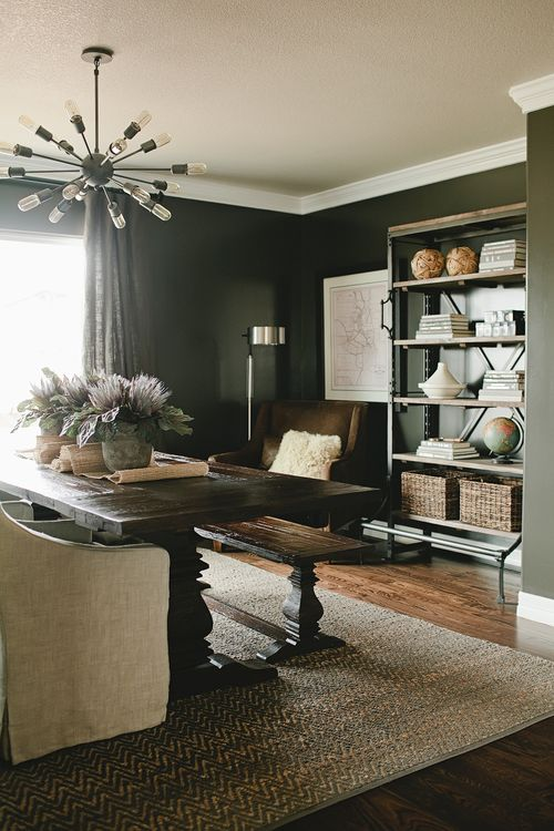 ROYAL WILDE | flex room: study / office and dining room in one, multi-purpose space, sputnik, dark gray / black walls, restoration hardware industrial shelving, west elm rug, world market table / bench, uttermost leather chair, interior design