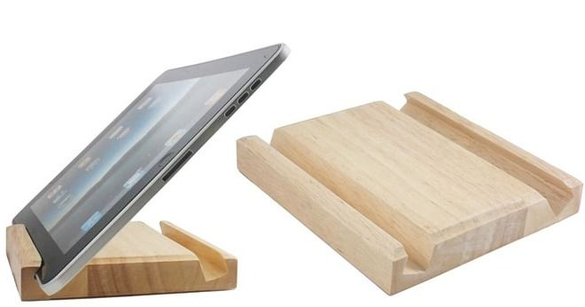 "Wooden iPad Stand Doubles as Kitchen Accessory Stand dimensions: 12"" L x 1.5"" W x 4"" H"