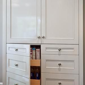 Elizabeth Kimberly Design - kitchens: pantry cabinets, built in pantry cabinets, faux drawers, faux kitchen drawers, pull out drawers, pull out pantry drawers, pantry ideas, kitchen pantry ideas,