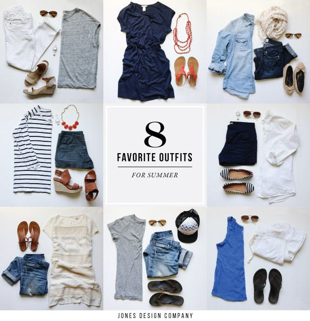See 8 favorite outfits for summer. From jeans + tees, to shorts + wedges. Comfortable, casual, easy to wear and all at affordable price points.