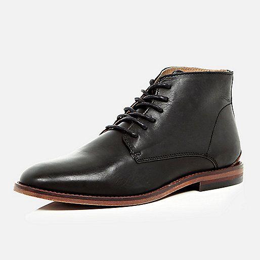 Zwarte leren lage laarzen - veterschoenen - schoenen / laarzen - heren