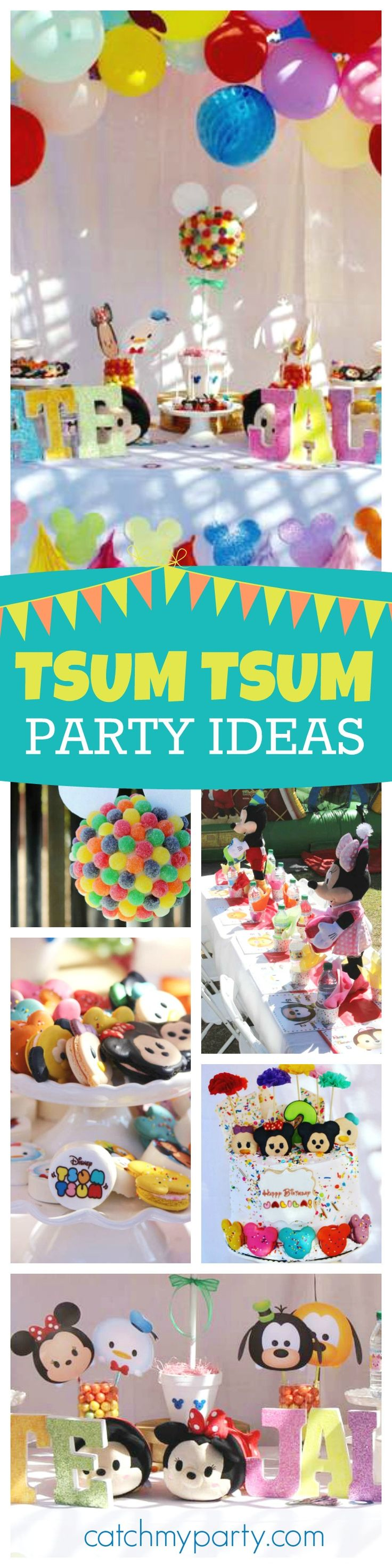 Check out this adorable Disney Tsum Tsum Birthday party for a brother and sister. The Tsum Tsum macaroons are just too cute! See more party ideas and share yours at CatchMyParty.com