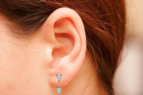 Sterling Silver Ear Jacket Pear CZ Ear Jacket 18K by iPreciousgr