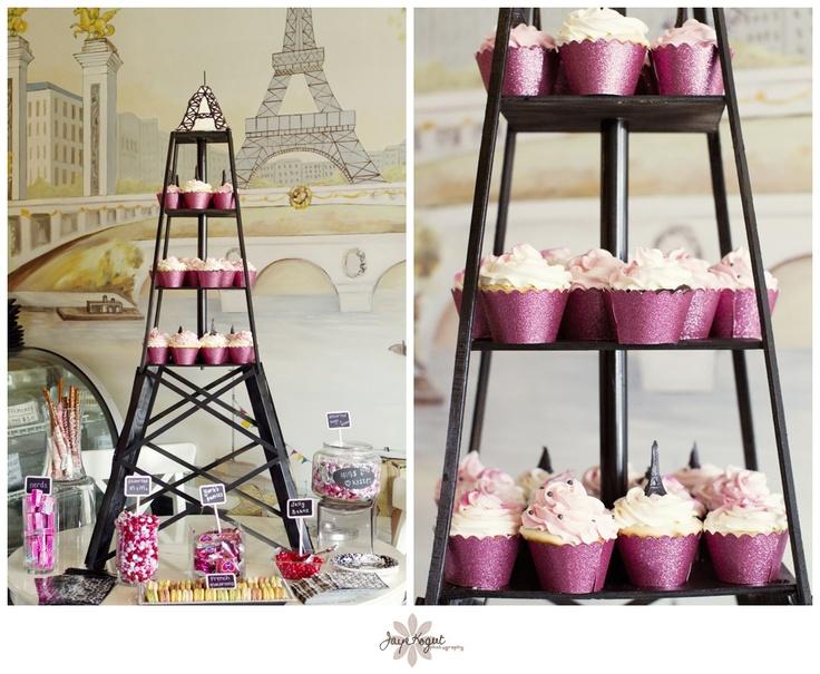 Paris Themed Baby Soireé, Paris Theme Bridal Shower, Cupcake Tower, Eiffel  Tower,