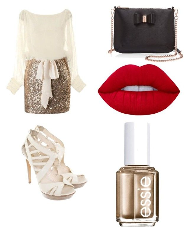 """""""Christmas Eve outfit"""" by lulu7899-1 on Polyvore featuring Fendi, Ted Baker, Essie and Lime Crime"""