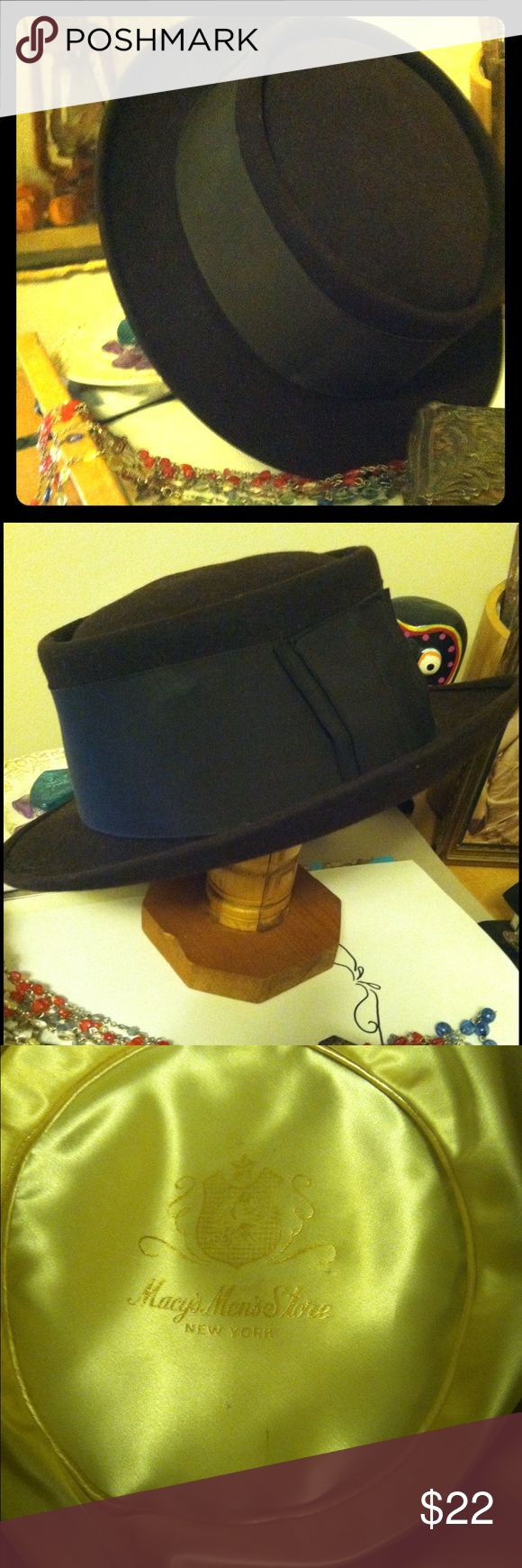 "Vintage men's wool hat From Macys ""men's collection"" in a dark brown soft wool and matching wide ribbon. Thin brimmed with even circumference unlike a fedora. Soft edges and a cream satin interior broken in and comfy size large. Fits like a women's size m-l hat. Macy's Accessories Hats"
