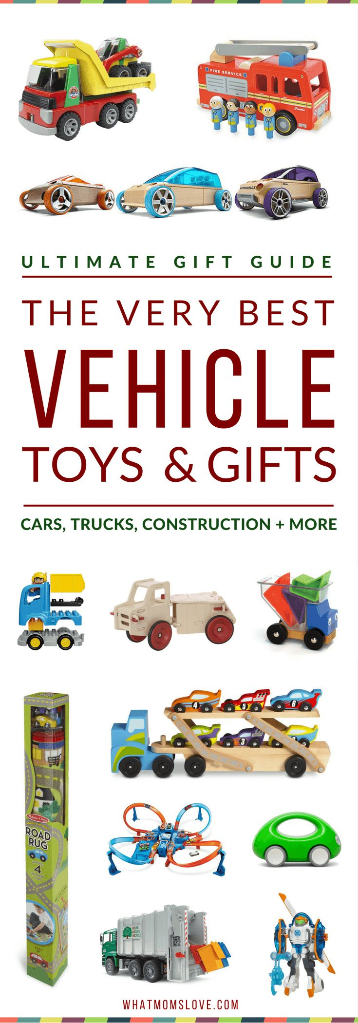 Best Vehicle Toys For Kids | Gift Ideas for kids who love Cars, Trucks and Construction | Gifts for boys from babies to toddlers, tweens and teens. Perfect for the holidays, Christmas and birthdays! via @whatmomslove