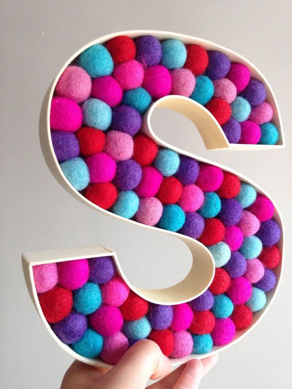 Custom Free Standing Letter S Monogrammed Initial Kids Room Decorative Wool Pinterest Lettering Decor And Letters