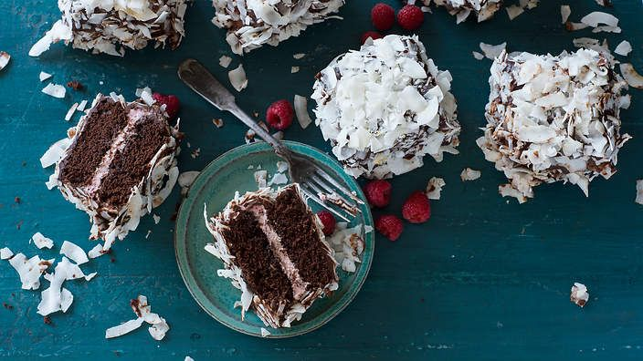 Anneka Manning's chocolate and raspberry lamingtons. Check out our Bakeproof column for tips and recipes.