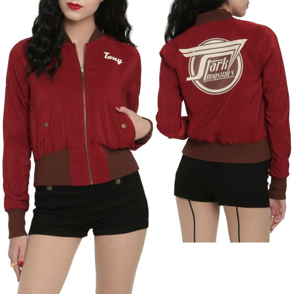Let everyone know about your dream career by wearing the Marvel By Her Universe Stark Industries Girls Bomber Jacket, and people might think you're lucky enough to hang with Tony Stark when he's not soaring through the sky as Iron Man.  When the weather turns cold (possibly because o