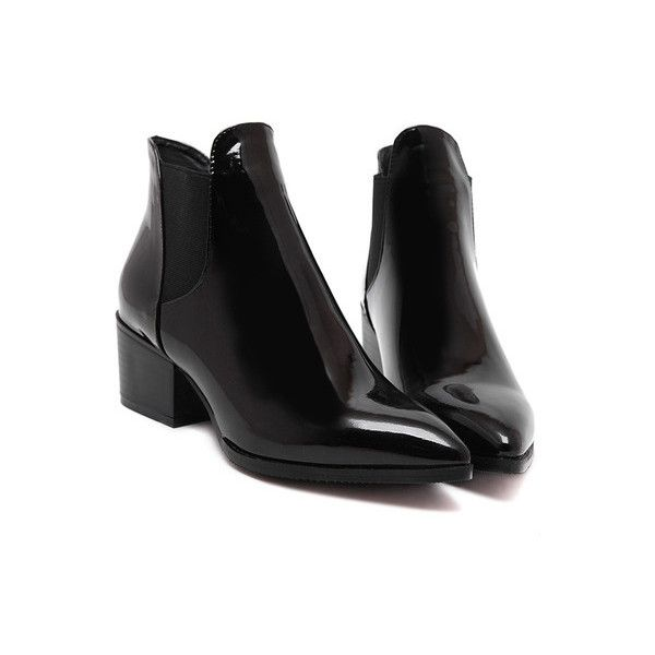 SheIn(sheinside) Black Point Toe Stretch Side Inserts Ankle Boots (50,250 KRW) ❤ liked on Polyvore featuring shoes, boots, ankle booties, ankle boots, black, black platform booties, black patent leather boots, pointed toe booties and short black boots