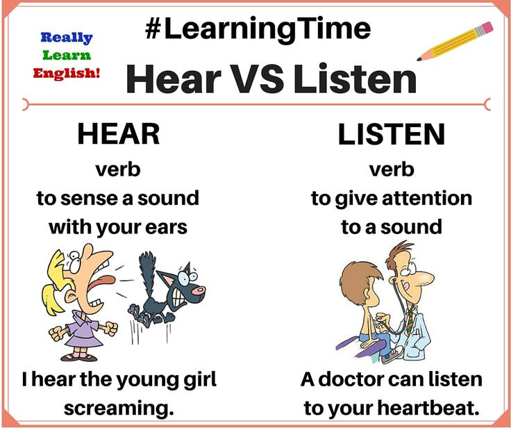 "Learn English with us! What is the difference between ""hear"" and ""listen"" in English? This lesson teaches students the differences between these two confusing verbs."