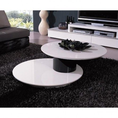 Modern Lacquered White And Black Round Swivel Top Coffee Table Kazo.