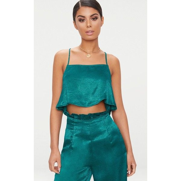 Emerald Green Satin Strappy Crop Top (79 SAR) ❤ liked on Polyvore featuring tops, emerald green, satin crop tops, strappy top, emerald green tops, strap crop top and blue satin top