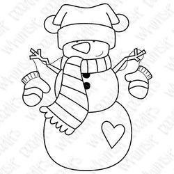 snowman,digital stamp,christmas,winter,snow