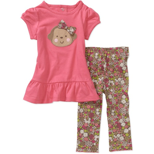 Child of Mine Carters Newborn Girls' 2-Piece Monkey Top and Pant Set