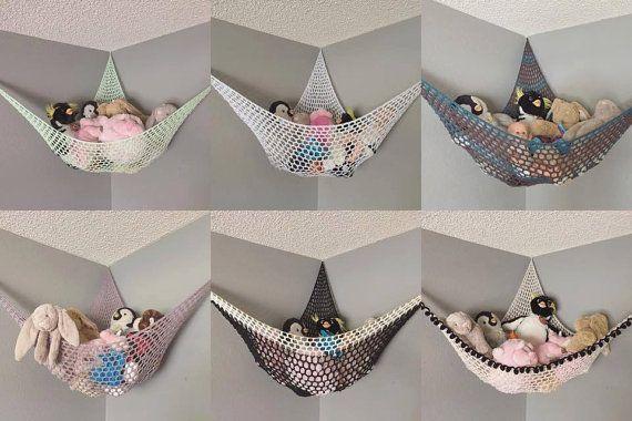 Häkelanleitung / PDF-Download / Gestalte deine eigene anpassbare Stofftier-Hängematte / weiche hängende Spielzeugablage für das Kinderzimmer-Schla…