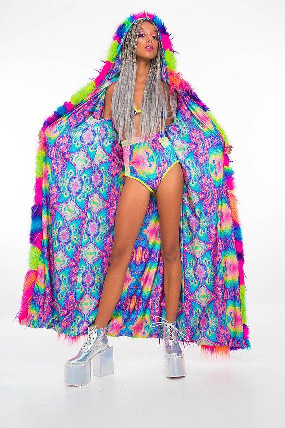 Custom design your own Epic Patchwork Rainbow Festival Coat