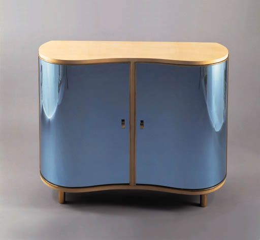 Gio Ponti; Mirrored Glass,Wood and Gilt-Bronze Cabinet for Fontana Arte, c1938 .